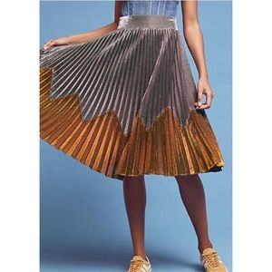 Anthropologie Silver & Gold Metallic Pleated Skirt